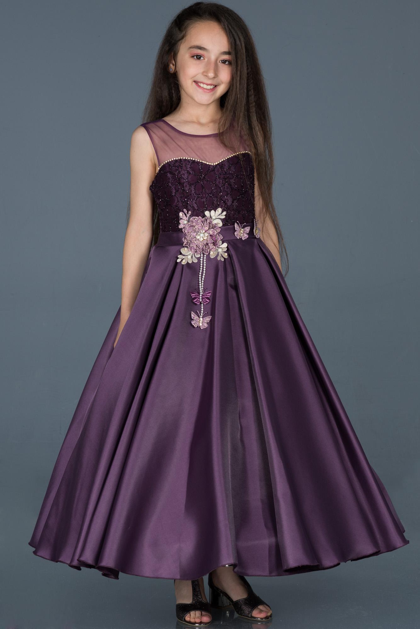 abendkleid für kinder lang violett dunkel abu791