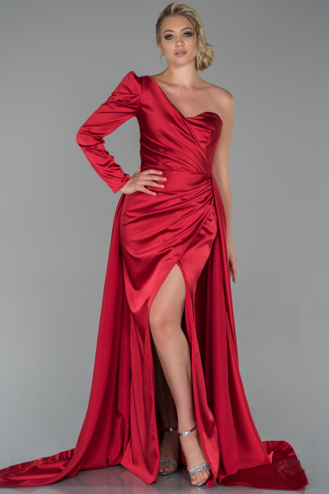 Kleid rot satin lang Abiballkleider Lang